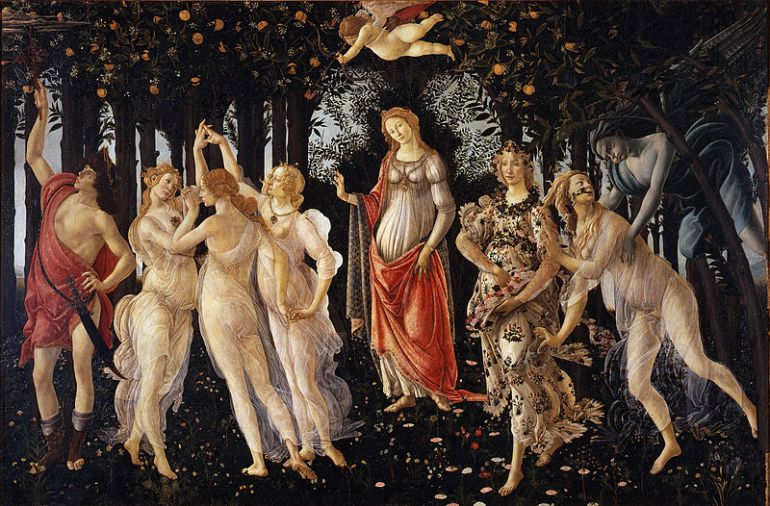 I always think of this painting when Spring comes. Sandro Botticelli, Primavera (Or Allegory of Spring)