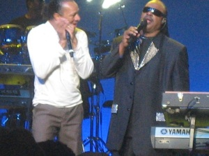 Stevie in a harmonica-off with another musician. He won, by the way. No surprise there.