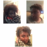 Top left, pre-Bantu and huge scarf. Top right, all Bantu'ed up. Bottom, the results.